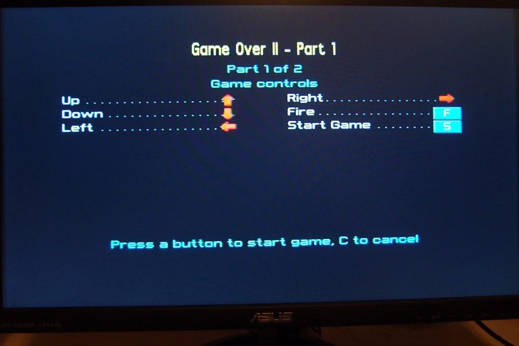 Menu Videojuego Spectrum ZX Vega